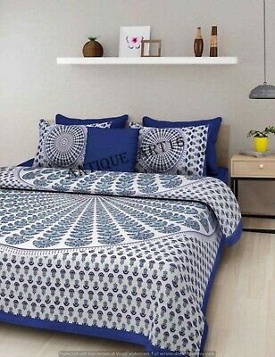 Indian Handmade Blue Bed Sheet Super King Size Cotton Cover with 2 Pillowcase