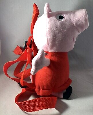 """Peppa Pig 14/"""" Canvas Pink /& Red Plush Backpack"""