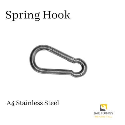 A4 Marine Grade Stainless Steel Carabiner Spring Hook Clip With Eyelet M9 x 90mm