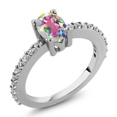 3.28 Ct Oval Pink Mystic Topaz White Diamond 925 Sterling Silver Ring