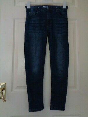 "Boy's Blue Stretchy Skinny Jeans With Adjustable Waist Age 9 10 11 Years 23"" Leg"