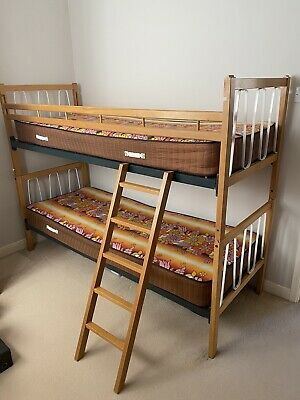 Vintage Retro Look Myers Wooden Separable Bunk Beds With Mattresses And Ladder 75 00 Picclick Uk