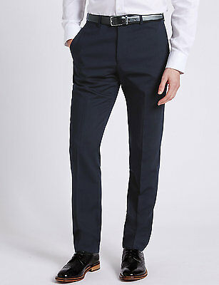 Men M/&S Tailored Grey Classic Regular Fit Pockets Formal Trousers Office Pants