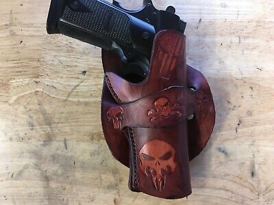 Details about  /Handmade Leather LH Gun Holster 1911 Custom Carving