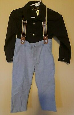 5 Pairs Toddler Boys Pant Set with Suspenders 2-6 years Blue Pants and Shirt