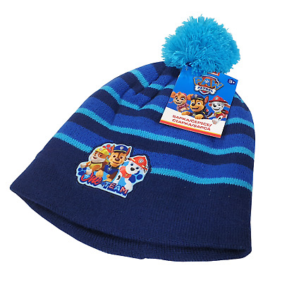 Paw Patrol Child Boy Bobble Hat Winter Knitted Light Blue Size 3-5 or 6-8 Years