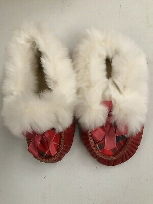 Vintage Child's Size 1 Red Moccasin Slippers