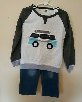3 Pairs Toddler Boys 2 Piece Outfit Long Sleeve T with Camper and Jeans