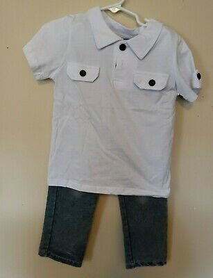 7 Pairs Toddler Boys Two Piece Short Sleeve T with Black Buttons Washed out Jean