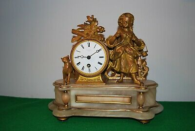 Antique French Gilt Brass and Alabaster Mantle Clock