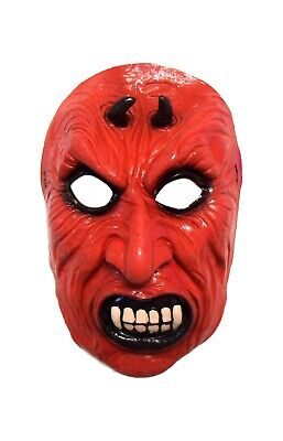 Halloween Evil Bright Red Fanged Devil Theater Cosplay Latex Mask