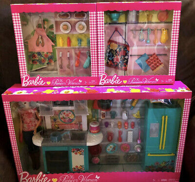 NEW Barbie The Pioneer Woman Kitchen Set+Pasta and BBQ 2 Accessory packs 3lot