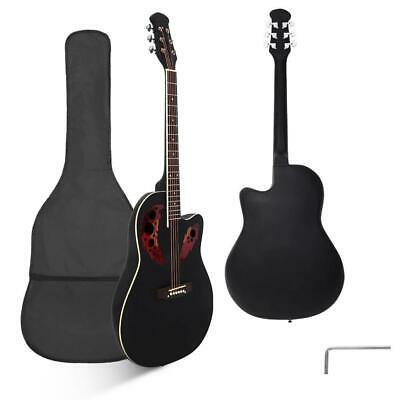 """New 41"""" Right Handed Acoustic Guitar with Bag Black"""
