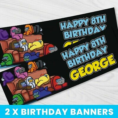 Personalised Among Us Banner BB087 Children Party Banner x 2