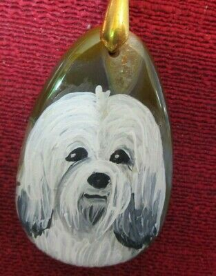 Havanese hand-painted on rounded teardrop pendant/bead/necklace