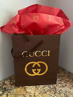 NEW GUCCI Brown Shopping Bag/Gift Bag and GUCCI Red/Gold Logo Tissue Paper
