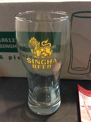 SINGHA BEER 8oz Glasses Thailand ~ One NEW Case of 12
