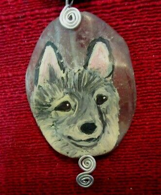 Norwegian Elkhound hand-painted on wire-wrapped pendant/bead/necklace