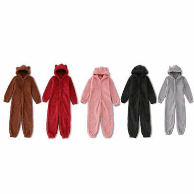 Unisex Boys Girls Winter Thick Warm Hooded Jumpsuit Romper Pajamas Set Sleepwear
