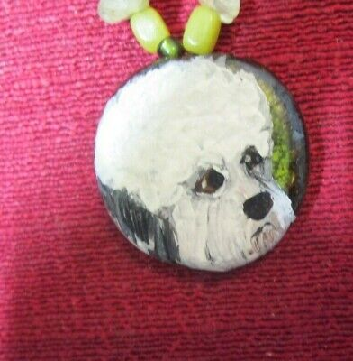 Dandie Dinmont Terrier hand-painted on glass pendant/bead/necklace
