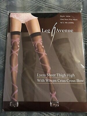 Rave Lycra Sheer Thigh High Stocking Pink Woven Criss Cross Bow By Leg Avenue