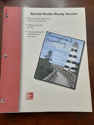 Managerial Accounting By Noreen And Garrison 10th Instructors Edition 29 00 Picclick
