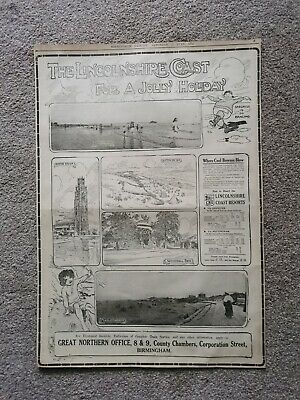 Original 1914 Great Northern Railway Gnr Lincolnshire Advert Large Sized