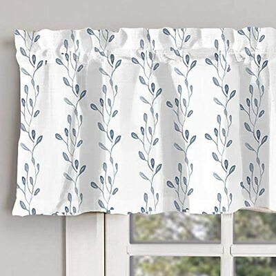 INICEKEY Blue Leaves Printed Valance Curtains Thermal Insulated Grey Kitchen