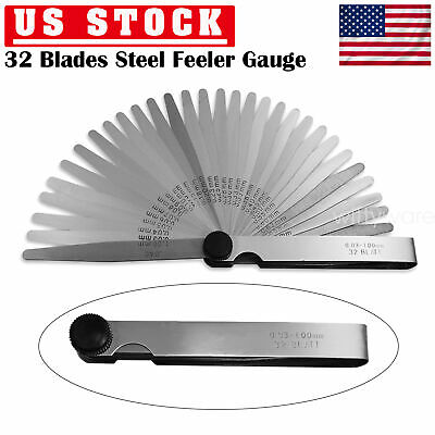 32 Blades Feeler Gauge Measuring Tool Thickness SAE Metric 0.001'' to 0.4'' US