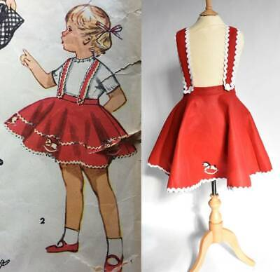 Vintage 50's circle skirt with braces red felt rocking horse age 6