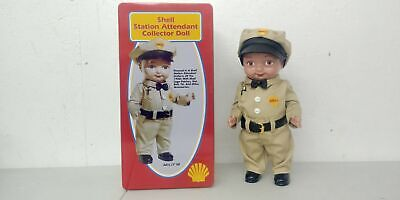"""Shell Station Attendant 13/"""" Collector Doll in Full 1950/'s Uniform in Metal Box"""