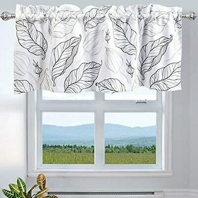 INICEKEY Leaves Printed Window Curtains Valance Kitchen, Top Rod Pocket 52x18 In