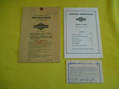 "Briggs & Stratton Operating Instructions Model ""6B-H"" With Warranty Certificate"