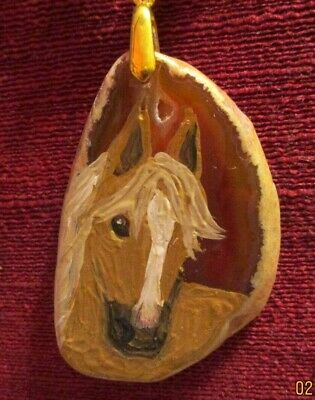 Horse, palomino, hand-painted on Agate Slice pendant/necklace