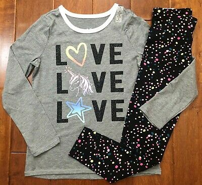 NWT JUSTICE GIRLS 8 10 OUTFIT ~ UNICORN HEART STAR GLITTER TEE//UNICORN LEGGINGS
