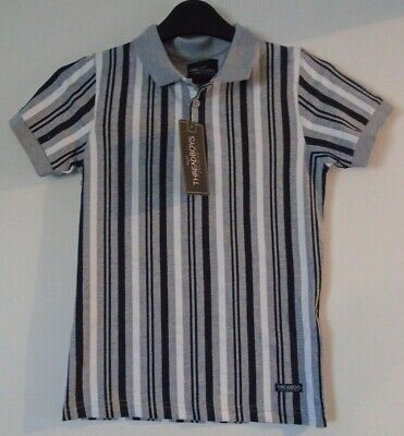 Threadboys Boys Grey Black & White Striped Polo Shirt Age 7-8 Years NEW £6