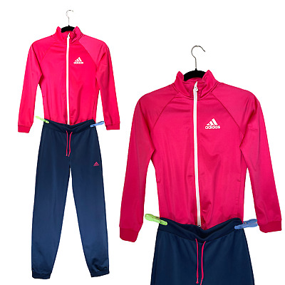 Adidas Girl's Tracksuit Age 11-12 Years Full Zip Pink Navy Sweatshirt Logo