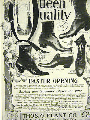 Thos. G. Plant Co. QUEEN QUALITY SHOES Boston 1900 Print Advertising Ad Matted