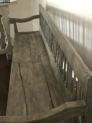 """Antique PINE BENCH-long (7 1/2ft) & Low (32"""" Tall Back) ProfiSolid Comdotion."""