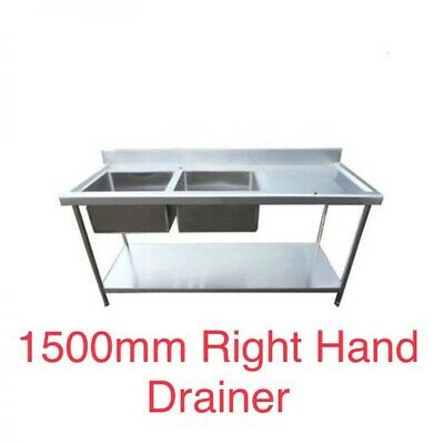 1.5m Stainless steel catering kitchen double bowl right hand drainer sink