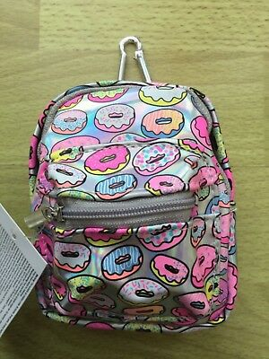 Attractive Holographic Mini Backpack Donut Charm Keyring New
