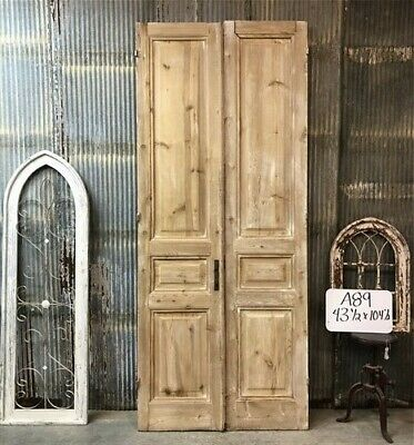 Tall Pair Antique French Double Doors, Raised Panel Doors, European Doors A89