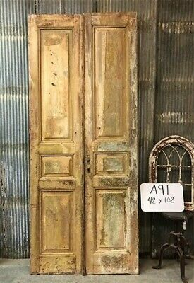 Tall Pair Antique French Double Doors, Raised Panel Doors, European Doors A91