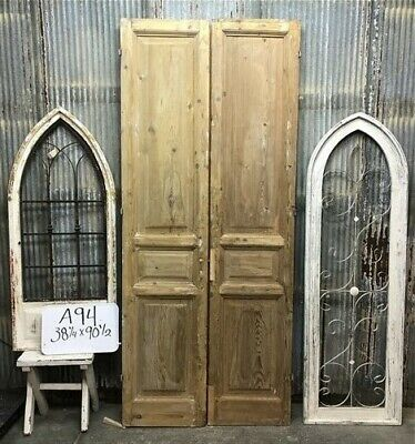 Tall Pair Antique French Double Doors, Raised Panel Doors, European Doors A94
