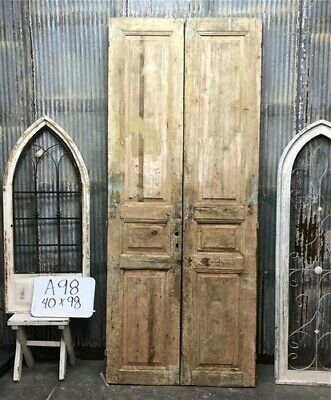 Tall Pair Antique French Double Doors, Raised Panel Doors, European Doors A98