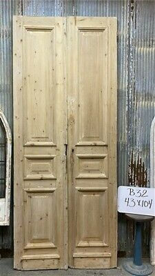 Thick Molding, Antique French Double Doors, European Doors, Tall Pair B32