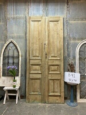 Thick Molding, Antique French Double Doors, European Doors, Tall Pair B41