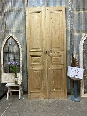 Thick Molding, Antique French Double Doors, European Doors, Tall Pair B43