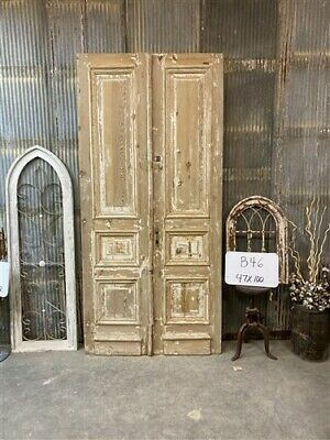 Thick Molding, Antique French Double Doors, European Doors, Tall Pair B46