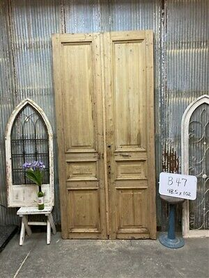 Thick Molding, Antique French Double Doors, European Doors, Tall Pair B47